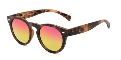 Angle of Bayview #3847 in Matte Tortoise Frame with Pink/Yellow Mirrored Lenses, Women's and Men's Round Sunglasses
