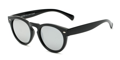 Angle of Bayview #3847 in Glossy Black Frame with Silver Mirrored Lenses, Women's and Men's Round Sunglasses