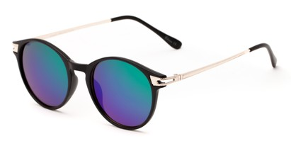 Angle of Bahama #3851 in Matte Black Frame with Green/Purple Mirrored Lenses, Women's and Men's Round Sunglasses