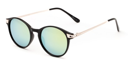 Angle of Bahama #3851 in Glossy Black Frame with Yellow Mirrored Lenses, Women's and Men's Round Sunglasses