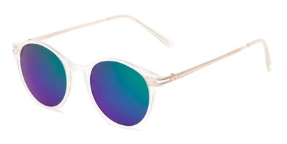 Angle of Bahama #3851 in Frosted Clear Frame with Green/Purple Mirrored Lenses, Women's and Men's Round Sunglasses