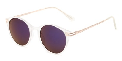 Angle of Bahama #3851 in Frosted Clear Frame with Purple Mirrored Lenses, Women's and Men's Round Sunglasses