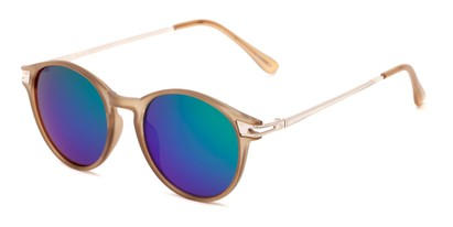 Angle of Bahama #3851 in Frosted Brown Frame with Green/Purple Mirrored Lenses, Women's and Men's Round Sunglasses