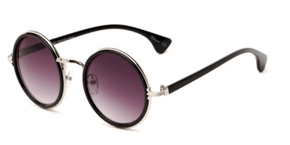 Angle of Sicily #3852 in Black/Silver Frame with Smoke Lenses, Women's Round Sunglasses