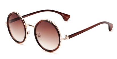 Angle of Sicily #3852 in Brown/Gold Frame with Amber Lenses, Women's Round Sunglasses