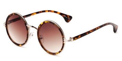 Angle of Sicily #3852 in Tortoise/Silver Frame with Amber Lenses, Women's Round Sunglasses