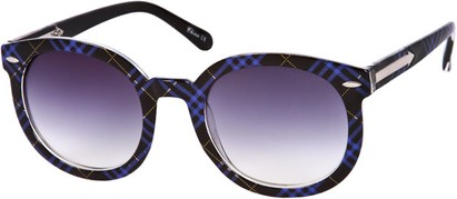 Angle of SW Oversized Retro Style #111 in Black/Blue Plaid Frame, Women's and Men's