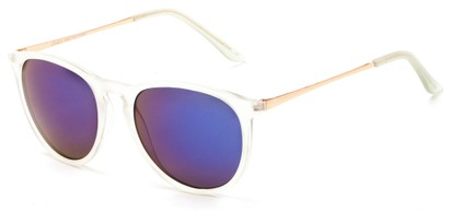 Angle of Cunningham #3857 in Clear Frosted Frame with Blue Mirrored Lenses, Women's and Men's Round Sunglasses