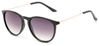 Angle of Cunningham #3857 in Glossy Black Frame with Smoke Lenses, Women's and Men's Round Sunglasses
