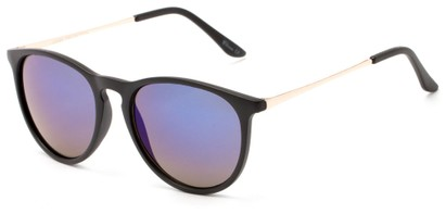 Angle of Cunningham #3857 in Matte Black Frame with Blue Mirrored Lenses, Women's and Men's Round Sunglasses