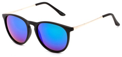 Angle of Cunningham #3857 in Matte Black Frame with Blue/Green Mirrored Lenses, Women's and Men's Round Sunglasses
