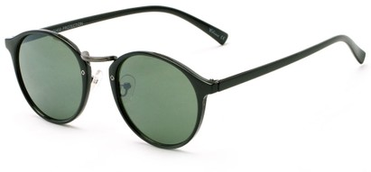 Angle of Orchard #3668 in Black Frame with Green Lenses, Women's and Men's Round Sunglasses