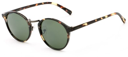 Angle of Orchard #3668 in Dark Tortoise Frame with Green Lenses, Women's and Men's Round Sunglasses