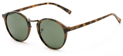 Angle of Orchard #3668 in Light Tortoise Frame with Green Lenses, Women's and Men's Round Sunglasses