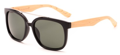 Angle of Achilles #38733 in Black Frame/ Tan Faux Wood Temples with Green Lenses, Men's Aviator Sunglasses