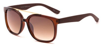 Angle of Achilles #38733 in Brown Frame/ Faux Wood Temples with Brown Lenses, Men's Aviator Sunglasses