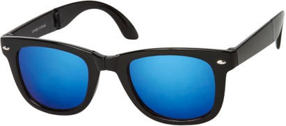 Angle of Spitfire #3805 in Black Frame with Blue/Silver Lenses, Women's and Men's Retro Square Sunglasses