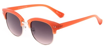Angle of Trill #3893 in Matte Coral/Silver Frame with Smoke Lenses, Women's Browline Sunglasses