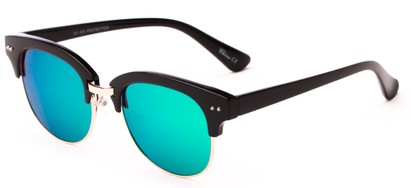 Angle of Trill #3893 in Glossy Black/Gold Frame with Blue/Green Mirrored Lenses, Women's Browline Sunglasses