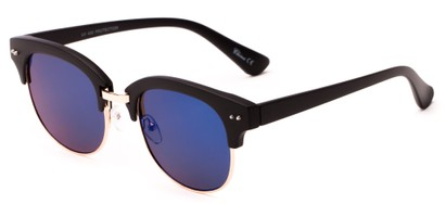 Angle of Trill #3893 in Matte Black/Gold Frame with Blue Mirrored Lenses, Women's Browline Sunglasses