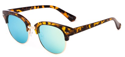Angle of Trill #3893 in Tortoise/Gold Frame with Yellow/Blue Mirrored Lenses, Women's Browline Sunglasses