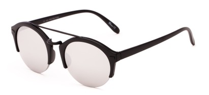 Angle of Revolver #3895 in Matte Black Frame with Silver Mirrored Lenses, Women's and Men's Round Sunglasses