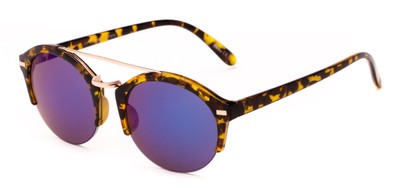 Angle of Revolver #3895 in Glossy Tortoise Frame with Blue Mirrored Lenses, Women's and Men's Round Sunglasses