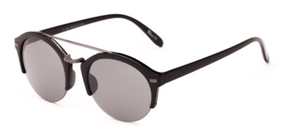 Angle of Revolver #3895 in Glossy Black Frame with Grey Lenses, Women's and Men's Round Sunglasses
