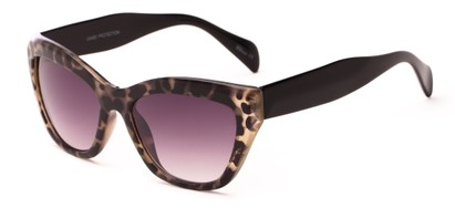 Angle of Hazel #3901 in Grey Tortoise with Smoke Lenses, Women's Cat Eye Sunglasses