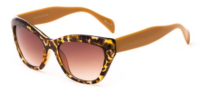 Angle of Hazel #3901 in Tan Tortoise with Amber Lenses, Women's Cat Eye Sunglasses