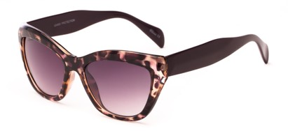 Angle of Hazel #3901 in Purple Tortoise with Smoke Lenses, Women's Cat Eye Sunglasses