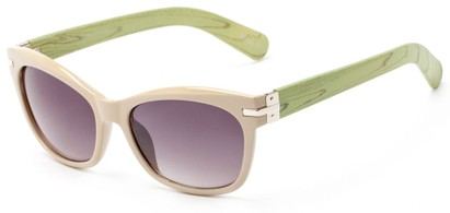 Angle of Holbrook #3906 in Tan/Green Frame with Smoke Lenses, Women's Square Sunglasses