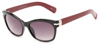 Angle of Holbrook #3906 in Black/Plastic Red Frame with Smoke Lenses, Women's Square Sunglasses