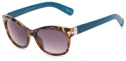 Angle of Holbrook #3906 in Tort/Blue Frame with Smoke Lenses, Women's Square Sunglasses