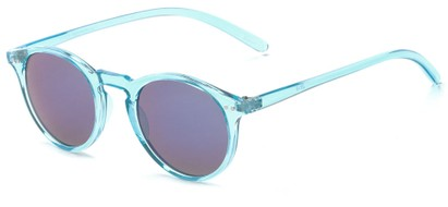 Angle of Ortley #3914 in Blue Frame with Blue Mirrored Lenses, Women's and Men's Round Sunglasses