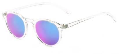 Angle of Ortley #3914 in Clear Frame with Blue Mirrored Lenses, Women's and Men's Round Sunglasses