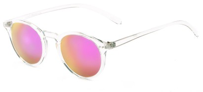 Angle of Ortley #3914 in Clear Frame with Pink Mirrored Lenses, Women's and Men's Round Sunglasses