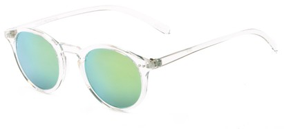 Angle of Ortley #3914 in Clear Frame with Yellow Mirrored Lenses, Women's and Men's Round Sunglasses