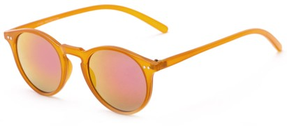 Angle of Ortley #3914 in Orange Frame with Pink Mirrored Lenses, Women's and Men's Round Sunglasses