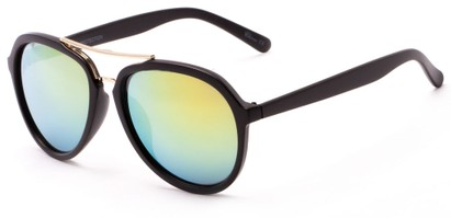 Angle of Monterey #3915 in Black Frame with Yellow Mirrored Lenses, Women's and Men's Aviator Sunglasses