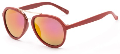 Angle of Monterey #3915 in Red Frame with Pink/Yellow Mirrored Lenses, Women's and Men's Aviator Sunglasses