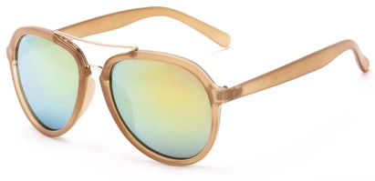 Angle of Monterey #3915 in Clear/Tan Frame with Yellow Mirrored Lenses, Women's and Men's Aviator Sunglasses