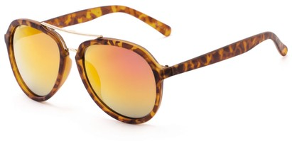 Angle of Monterey #3915 in Matte Tortoise Frame with Pink/Yellow Mirrored Lenses, Women's and Men's Aviator Sunglasses