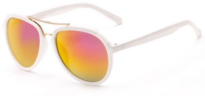 Angle of Monterey #3915 in Matte White Frame with Pink/Yellow Mirrored Lenses, Women's and Men's Aviator Sunglasses
