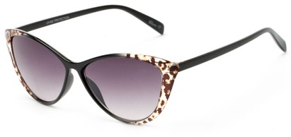 Angle of Bisti #3917 in Black/Leopard Frame with Smoke Lenses, Women's Cat Eye Sunglasses