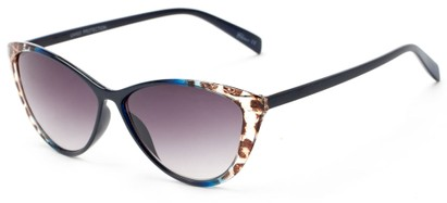 Angle of Bisti #3917 in Navy/Leopard Frame with Smoke Lenses, Women's Cat Eye Sunglasses
