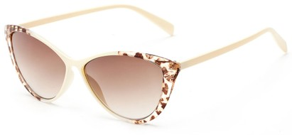 Angle of Bisti #3917 in Cream/Leopard Frame with Amber Lenses, Women's Cat Eye Sunglasses