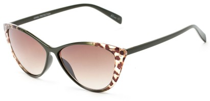 Angle of Bisti #3917 in Olive/Leopard Frame with Amber Lenses, Women's Cat Eye Sunglasses