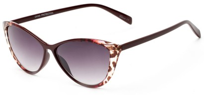 Angle of Bisti #3917 in Burgundy/Leopard Frame with Smoke Lenses, Women's Cat Eye Sunglasses