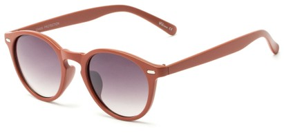 Angle of Hubbard #3921 in Matte Red Frame with Smoke Lenses, Women's and Men's Round Sunglasses